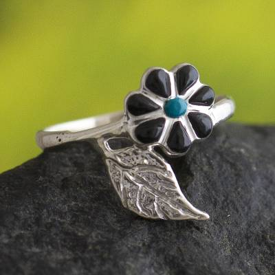 Chrysocolla and onyx cocktail ring, 'Flowers in the Sky' - Peruvian Chrysocolla and Onyx Flower Cocktail Ring