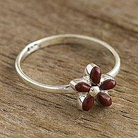 Jasper cocktail ring, 'Andean Star in Red' - Andean Silver and Jasper Flower Ring