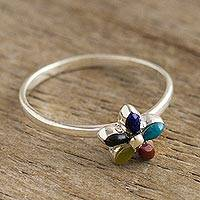 Multi-gemstone cocktail ring, 'Andean Star in Earth' - Andean Silver and Gemstone Flower Ring