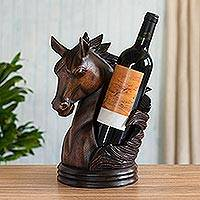 Wood wine bottle holder, 'Majestic' - Hand Carved Horse Wine Bottle Holder