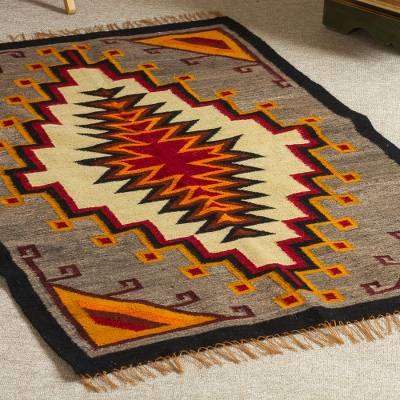 Wool area rug, 'Mystic Geometry' (2.5x4) - Multicolored Wool Area Rug (2.5x4)