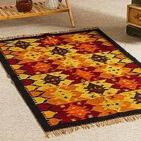 Wool area rug, 'Vibrant Colors' (2.5x4) - Hand Loomed Wool Area Rug (2.5x4)