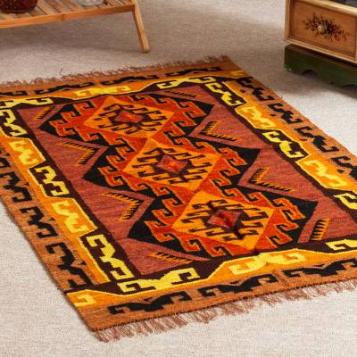 Wool area rug, 'Mystic Inspiration' (2.5x5) - Patterned Wool Area Rug (2.5x4)