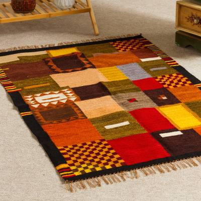 Wool rug, 'Wari Geometry' (2.5x4) - Handwoven Andean Wool 2.5 x 4 Ft Accent Rug