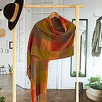 100% alpaca shawl, 'Andean Sunset' - 100% Alpaca Wool Plaid Shawl From Peru