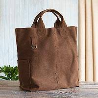 Canvas tote bag, 'Chocolate' - Brown Cotton Canvas Tote Bag From Peru