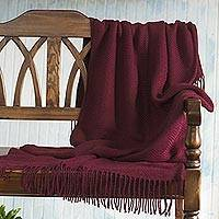 Acrylic and alpaca blend throw blanket, 'Boomerang in Burgundy' - Chevron Pattern Wine Red Throw Blanket