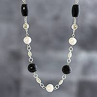 Obsidian and cultured pearl necklace, 'Quiet Fire' - Black Obsidian and Cultured Pearl Necklace from Peru