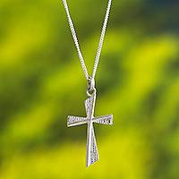 Sterling silver pendant necklace, 'Heavenly Cross' - 925 Sterling Silver Minimalist Cross Necklace from Peru