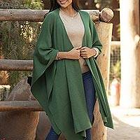 Alpaca blend ruana, 'Elegant Fashion in Green' - Knit Alpaca Blend Ruana in Green from Peru