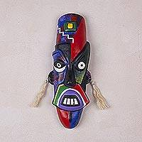 Ceramic mask, 'Nazca Moustache' - Handcrafted Ceramic Wall Mask Original Design