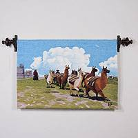 Wool tapestry, 'Herd of Llamas' - Hand Made Llama Themed Wool Tapestry from Peru