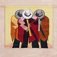 Wool tapestry, 'Quena Flute Players' - Handcrafted Music Themed Wool Tapestry from Peru