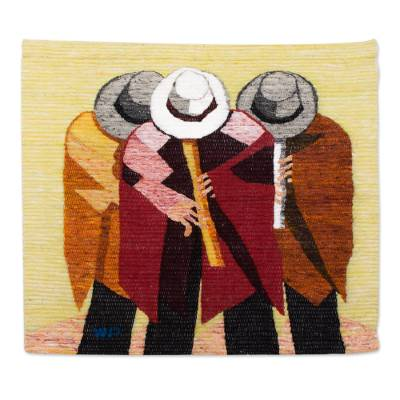 Handcrafted Music Themed Wool Tapestry from Peru