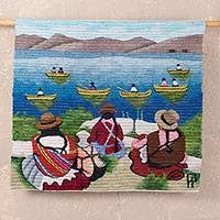 Wool tapestry, 'Women Farmers at Lake Titicaca' - Wool tapestry