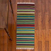 Wool rug, 'Earth in Balance' (2x5) - Wool rug (2x5)