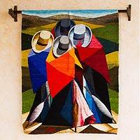 Wool tapestry, 'Cubist Women' - Peruvian Cultural Wool Tapestry Wall Hanging