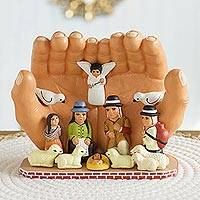 Ceramic sculpture Peace Nativity Peru