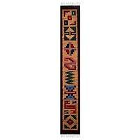 Wool table runner, 'Earth Legends' - Collectible Geometric Wool Table Runner
