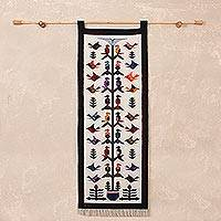 Wool tapestry, 'Hummingbird Song'  - Beautiful Fair Trade Wool Tapestry