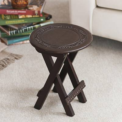 Mahogany and leather folding table, 'Garland' - Collectible Mahogany Leather Folding Accent Table
