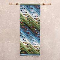 Wool tapestry, 'Interlinked Birds' - Wool tapestry