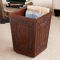 Tooled leather basket, 'Boxed' - Fair Trade Colonial Wood Leather Wastebasket