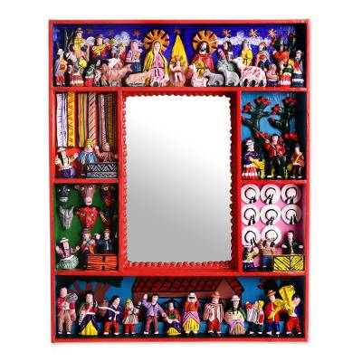 Fair Trade Folk Art Retablo Mirror