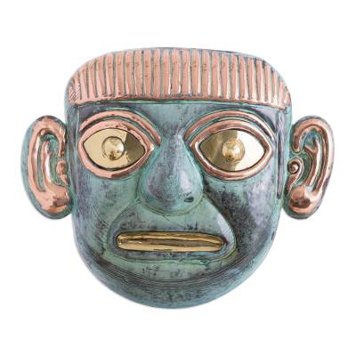 Handcrafted Archaeological Copper and Bronze Mask