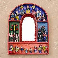 Mirror, 'Garden of Eden' - Retablo Christian Folk Art Mirror