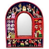 Mirror, 'Jesus in Ayacucho' - Fair Trade Christianity Wood Retablo Mirror