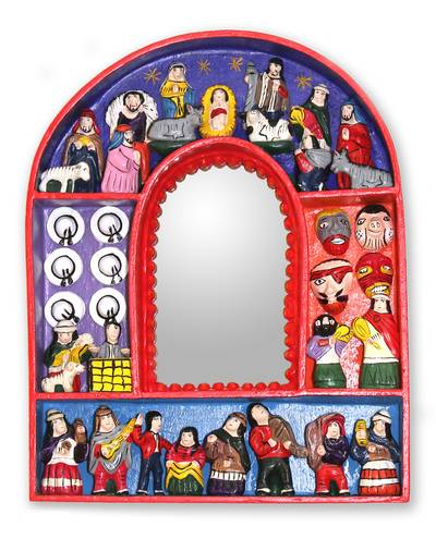 Fair Trade Christianity Wood Retablo Mirror