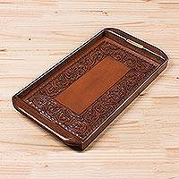 Tooled leather tray, 'Spanish Ivy' - Peruvian Leather Wood Tray Serveware