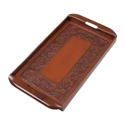 Peruvian Leather Wood Tray Serveware