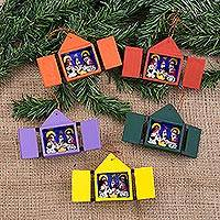 Ornaments, 'Retablos' (set of 5) - Christmas Ornaments Nativity Scene Set of 5 Handmade in Peru