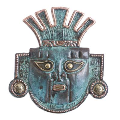 Unique Archaeological Bronze and Copper Wall Mask