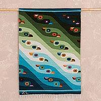 Wool tapestry, 'Sea Birds' (2x2.5) - Wool tapestry (2x2.5)