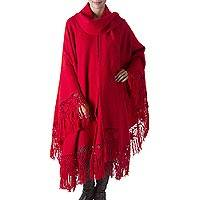 Alpaca blend poncho, 'Red Sunrise Elegance' - Peruvian Alpaca Wool Solid Red Poncho