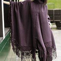 Alpaca blend poncho, 'Purple Mystique' - Fair Trade Alpaca Wool Blend Cloak from the Andes