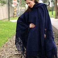 Alpaca blend poncho, 'Ocean Spell' - Fair Trade Alpaca Wool Blend Poncho from Peru