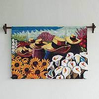 Wool tapestry, 'Harvesting Flowers' - Fair Trade Sunflower and Calla Lily Harvest Tapestry