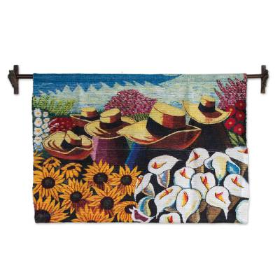 Fair Trade Sunflower and Calla Lily Harvest Tapestry