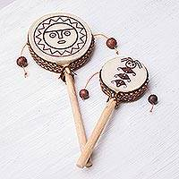 Wood tamasa stick-drum, 'Sun God' - Wood Tamasa Stick Drum