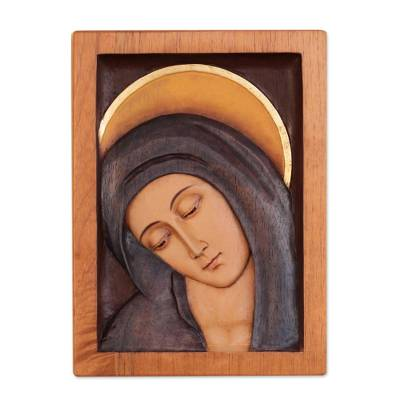 Cedar relief panel, 'Inclined Virgin' - Artisan Crafted Religious Wood Virgin Mary Relief Panel