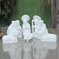 Stone nativity scene, Birth in Huamanga (set of 9)
