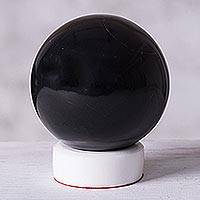 Onyx sphere, 'World of Shadows' - Onyx Sphere Sculpture with Calcite Base