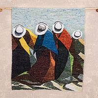 Wool tapestry, 'Women of My Land' - Wool tapestry