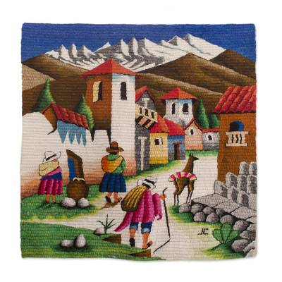 Wool tapestry, 'Highland Streets' - Handcrafted Cultural Wool Tapestry Wall Hanging