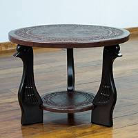 Cedar and leather table, 'Queen Sofia' (dark brown) - Wood Leather Living Room Coffee Table