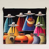 Wool tapestry, 'Market of Clay Jars' (Peru)
